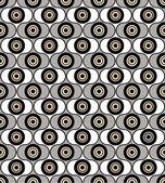 抽象的なシームレス パターンから幾何学的な飾り、黒、グレーし、白の円の背景 — ストックベクタ