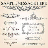 Set of calligraphic retro floral elements for page decoration. Vintage Victorian Vector Design Ornament Decor. — Stock Vector