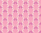 Seamless pattern from tendril with white, pink and lilac flowers delphinium — Stock Vector