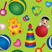 Seamless baby toy pattern background, children's toys, Print — Stock Vector