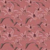 Teste padrão floral sem emenda com a lily flores suaves — Vetor de Stock