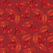 Autumn leaves seamless pattern background. Rowan berry seamless texture. — Stock Vector