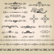 Vector set: calligraphic design elements and page decoration. Calligraphic retro elements for page decoration. Vintage Vector Design Ornaments — Stock Vector