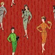 Stylish fashion dressed girls (1950's 1960's style) seamless pattern: Retro fashion party. vintage fashion silhouettes from 60s. — Stock Vector #20001551