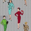 Stock Vector: Stylish fashion dressed girls (1950's 1960's style) seamless pattern: Retro fashion party. vintage fashion silhouettes from 60s.