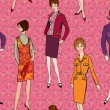 Stylish fashion dressed girls (1950's 1960's style) seamless pattern: Retro fashion party. vintage fashion silhouettes from 60s. — Stock Vector #20001569