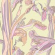 Floral seamless background. gentle outline flowers iris on yellow backdrop. vector EPS10. - Stock Vector