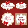 Set of Badges, Tags with space for text. Set of christmas retro labels with red gift bows with ribbons. — Stock Vector