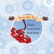 Christmas and New Year greeting card with ribbon, snowflakes and ashberry — Stock Vector