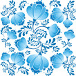 Stock Vector: Seamless pattern with leaves and flowers on white background in russian style