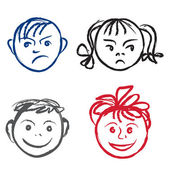 Kids smile and sad face. Vector design elements set. — Stock Vector
