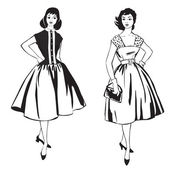 Two stylish dressed girls(1950s, 1960s style). Retro fashion party — Stock Vector