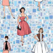 Stylish fashion dressed girls (1950's 1960's style) seamless pattern: Retro fashion party. vintage fashion silhouettes from 60s. — Stock Vector