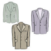 Man's fashion jacket. Vector business double-breasted suits. — Stock Vector