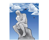Thinker man concept illustration. The Thinker Statue by the French Sculptor Rodin. — Stockvector