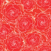 Red roses seamless background. floral pattern. — ストックベクタ