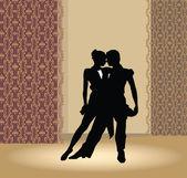 Dance pair in tango passion — Stock Vector