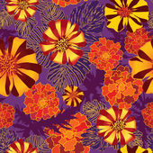 Red, orange marigolds background — Stock Vector