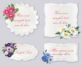 Set of badges, tags with copy space. Set of gift lacy cards with flower bouquet isolated. Vector illustration. — Stock fotografie