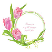 Flower frame. Floral border. Bouquet tulips isolated. — Stock Photo