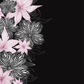 Black and white background with white and pink flowers. vector border — Stock Photo