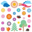Flowers and trees, clouds and bird in spring forest. Vector set — Stock Vector
