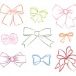 Big set of colorful gift bows with ribbons. Vector illustration. — Stock Vector #24489581