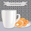 Vintage vector background with coffee cup and cakes. Good morning card. — Stock Vector #24489657
