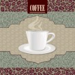 Vintage card with cup and coffee beans pattern on seamless background. Retro Vintage Coffee Label. Vector Illustration Package. — Stockvector