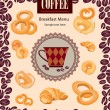Coffee bean poster. Vintage vector background with coffee cup label and cakes. Coffee frame. — Stock Vector #24489929