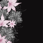 Black and white background with white and pink flowers. Elegant floral vector border — Stock Vector