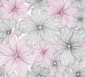 Black and white seamless background with white and pink flowers. Vector Graphic. — Stock Vector
