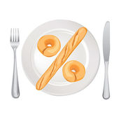 Percent sign. Bread on plate isolated on white background. Vector illustration. — Stock Vector