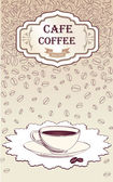 Coffee bean poster. Vintage vector background with coffee cup. — Vettoriale Stock