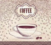 Vintage vector background with coffee cup. — Stock Vector