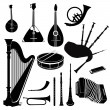 Music instruments vector set. Musical instrument silhouette on white background. - Stockvectorbeeld