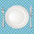 White plate with fork and knife on checkered tablecloth — Stock Vector