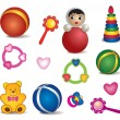 Baby toys isolated. Vector set of toy icon. — Stock Vector