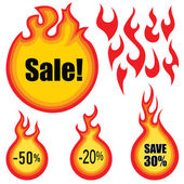 Sale label vector set. Hot price stickers — Stock Vector