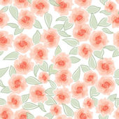 Flower rose seamless pattern. White floral seamless background. — Stock Vector