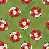 Meadow flowers seamless pattern. Floral background. Poppy and chamomile — Stock Vector