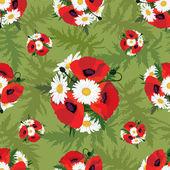 Luční květiny bezešvé vzor. květinové pozadí. mák a heřmánek — Stock vektor