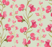 Lilac and pink flowers sweet peas seamless pattern on green background — Vector de stock