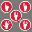 Hands - finger count collection. Vector gestures icons. Computer icon set. — Vettoriali Stock