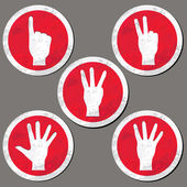 Hands - finger count collection. Vector gestures icons. Computer icon set. — Stock Vector