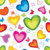 Love hearts Valentin's Day Seamless Pattern. Bright Vector seamless background. — Vettoriale Stock