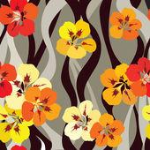 Floral fundo sem emenda. padrão ondulado de buquês de flor amarela. — Vetorial Stock