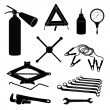 Auto service icons. Repair car on the road. Vector set. — Stock Vector