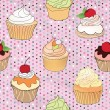 Pastry seamless retro pattern. Muffin illustration in retro style over polka dot seamless background. Sweets vector set. Vintage cupcake background. — Vector de stock