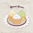 Gift card with pastry. Muffin on napkin in retro style over polka dot seamless pattern. Sweets vector set. Vintage cupcake background. — Stock Vector